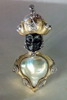 Moretto con perle e diamanti