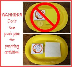 Here's an important warning (with a link to a tragic story) about Montessori-inspired pin punching activities. Pin punching activities have been popular for years and for good reasons. They're great for helping preschoolers develop concentration and coordination for writing - and preschoolers typically love pin punching. But an alternative to push pins is needed. And there are alternatives available. You'll find a giveaway for an alternative here.