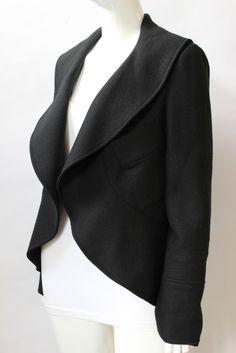 Elizabeth and James Black Wool Shawl Collar Short Jacket