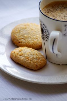 Wheat Coconut Cookies Recipe - Eggless Coconut Biscuits Recipe - Christmas Cookies Recipes - Blend with Spices Eggless Cookie Recipes, Eggless Desserts, Eggless Baking, Baking Recipes, Baking Desserts, Cake Recipes, Coconut Biscuits, Coconut Cookies, Yummy Cookies