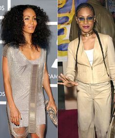 Superstar mogul Jada Pinkett Smith has been in the limelight for many years and has kept her fans wanting more with all her different style changes. In this first look she lets loose with wild curly hair, silver mini-dress and matching silver clutch. In a more casual look she wears cream pants, cream leather jacket, gold choker, long braids and tinted sunglasses!