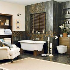 appealing ways of contrasting light & dark shades in a bathroom