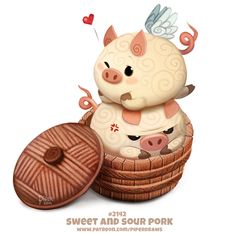 Daily Paint Sweet and Sour Pork by Cryptid-Creations on DeviantArt Cute Kawaii Drawings, Funny Drawings, Cute Animal Drawings, Kawaii Art, Animal Puns, Animal Food, Cute Piggies, Cute Disney Wallpaper, Painted Books