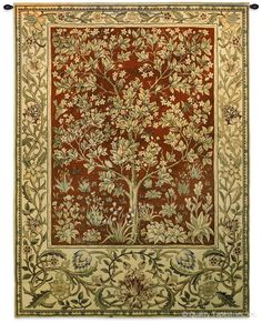 Tree of Life Ruby Red William Morris Wall Tapestry