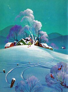 Frans Van Lamsweerde (Dutch born American Disney artist) - Snowy Landscape scene