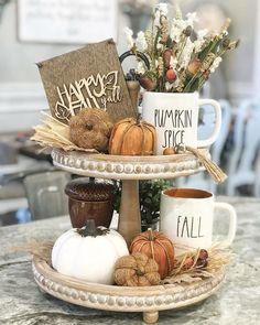 55 Interesting and Unique Pumpkin Centerpieces and Table Decorations for Halloween ⋆ BrassLook Tray Decor, Decoration Table, Fall Home Decor, Autumn Home, Galvanized Tiered Tray, Decopage, Pumpkin Centerpieces, Centerpiece Ideas, Tiered Stand
