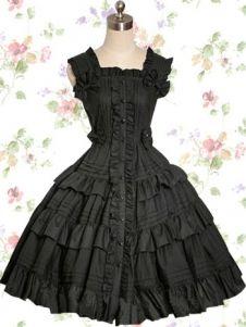 Black Victorians Style Cotton Gothic Lolita Dress