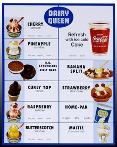 Dairy Queen menu, from the 1960's