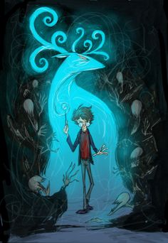 The Boy Who Lived! Harry Potter and his Patronus.