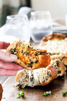 Easy Spinach Dip Stuffed French Bread. Try making with Jimmy John's Day Old Bread!