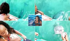 Teressa Cee had left her phone on the boat when she went swimming off the boast of The Bahamas with Cacique, pictured. It was dropped into the sea, but the clever dolphin retrieved it.