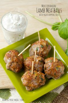 Mediterranean Lamb Meatballs with Yogurt Dipping Sauce: easy, healthy, and full of flavor.  - Eazy Peazy Mealz