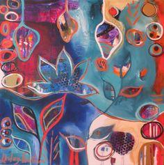 """One Love Lotus"" - acrylic on canvas by Lesley Fountain Flora Bowley, Pattern Art, Mixed Media Art, Artsy Fartsy, Creative Art, Fountain, Whimsical, Abstract Art, Wall Art"