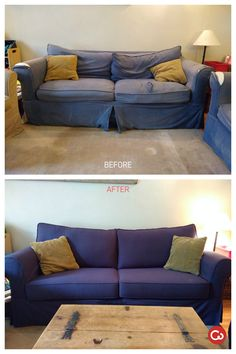 Charmant Comfort Works Custom Slipcover Before U0026 After In Gaia Navy Life Review,  Custom Slipcovers,