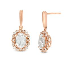 Oval Lab-Created White Sapphire and CT. Diamond Frame Vintage-Style Drop Earrings in Rose Gold Sapphire Stone, White Sapphire, Diamond Stone, Rose Gold Earrings, Pearl Earrings, Drop Earrings, Peoples Jewellers, Earring Backs, Designer Earrings
