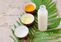 Aloe Vera Cleanser  5 taloe vera gel (or heaping 1/4 cup), 2t sweet almond oil, 1 tcastile soap, (skip if dry skin and replace with an extra tb of oil), 20-60 drops Essential oils