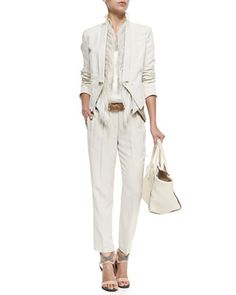 Cropped 3-In-1 Tux Jacket, Vest with Ostrich Feather Placket, Lamé Scoop-Neck Tank, Crepe Pull-On Pants by Brunello Cucinelli at Bergdorf Goodman.