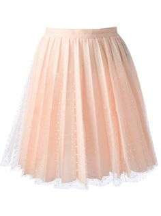 Pink lace skirt from Red Valentino featuring an a-line shape, a rear zip fastening, a pleated finish, a polka dot print and a straight hemline.