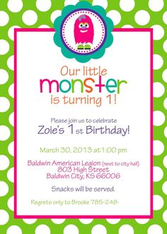 Monster Theme Birthday Party Invites (Girl) - You Choose The Colors