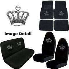 Crown Gem Crystal Studded Rhinestone Bling Car Truck SUV Floor Mats Bucket Bench Seat Covers
