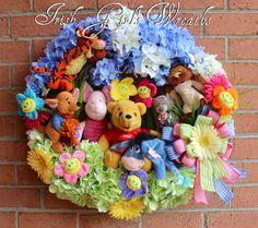Winnie the Pooh Wreath, Winnie the Pooh & Friends Wreath, by Irish Girl's Wreaths. www.irishgirlswreaths.com