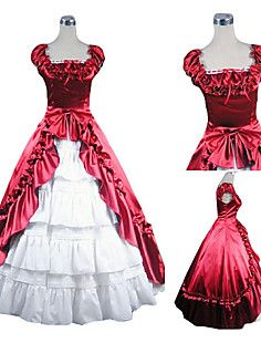 Sleeveless Floor-length Red and White Satin Aristocrat Lolit... – GBP £ 82.79