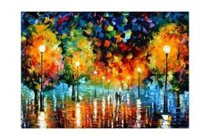 The official online art gallery of Leonid Afremov. Here you can buy original oil paintings directly from the world renown artist. CITY BY THE LAKE, pallet knife painting Art And Illustration, Art Beauté, Art Gallery, Fine Art, Oil Painting On Canvas, Oil Paintings, Canvas Art, Landscape Paintings, Rain Painting