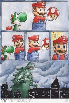 Yoshi is Godzilla. Makes sense Godzilla, Memes Mario, Mario Funny, Geeks, Yoshi, Bazar Bizarre, Desu Desu, Video Game Memes, Fandoms