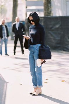Bell sleeve turtleneck with denim and low heeled cap toe sling-backs