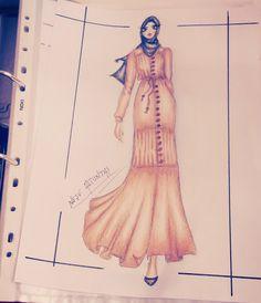 Neşe'nin Dünyası: Artistik çizim hijab, fashion sketches,  hijab sketch