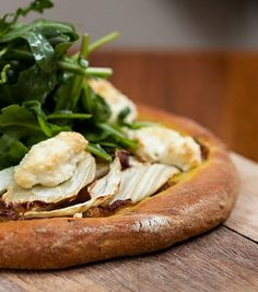 Made with shaved fennel, caramelized onions and feta cheese, and topped with arugula, the Yemenite Pizza at New York's Balaboosta is one of the restaurant's freshest, most vegetable-rich entrées.