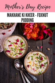 Vegan Makhane Ki Kheer or Foxnut Pudding is an easy, fussfree dessert. This creamy kheer is flavoured with saffron and cardamom and takes just minutes to prepare! Indian Desserts, Indian Sweets, Vegan Desserts, Fun Desserts, Indian Food Recipes, Dessert Recipes, Dessert Ideas, Ethnic Recipes, Indian Kheer Recipe