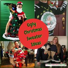 Often, someone will wear a homemade ugly Christmas sweater for a party or other holiday celebration. Learn How to Make an Ugly Sweater Plus 5 Ugly Christmas Sweater Ideas can be found right here. Making Ugly Christmas Sweaters, Homemade Ugly Christmas Sweater, Diy Ugly Christmas Sweater, Christmas Sewing Patterns, Christmas Sewing Projects, Christmas Crafts, Christmas Stuff, Christmas Time, Fun Christmas Party Ideas