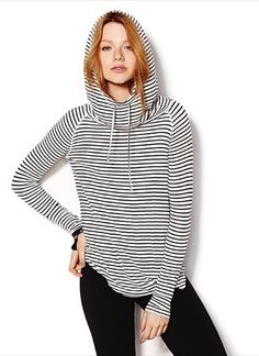 Hooded Stripe Long Sleeve Knit Tee - Garage