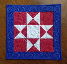 Quilted Americana Table Topper Modern Table Runner Red White