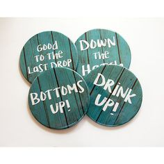 Drink Up Coasters Bottoms Up Drink Coasters Wine Coasters Coasters... ($16) ❤ liked on Polyvore featuring home, kitchen & dining, bar tools, coasters, drink & barware, drinkware, grey, home & living, wine cork coasters and drink coasters