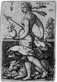 Beham, (Hans) Sebald (1500-1550): Venus, from The Seven Planets with the Signs of the Zodiac, 1539 (Bartsch 118; Pauli, Holl. 120),