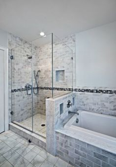 Glass shower for the bathroom, with small subway tile.