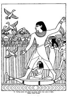 Coloriage d'égyptiens en train de chasser des oiseaux à bord de leur barque.