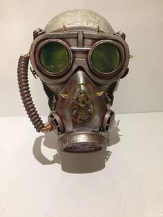Steampunk Respirator Gas Mask And Goggles With Post