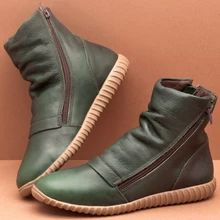 Rubber Women's Zipper Green Fall Winter Casual PU Flat Heel Under 1 inch inch Boots Ankle Boots 35 36 37 38 39 40 41 42 43 Shoes Flat Heel Boots, Ankle Boots, Heel Pumps, Mid Calf Boots, Heeled Boots, Shoes Heels, Chunky High Heels, Martin Boots, Vintage Boots