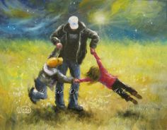Playing With Dad Art Print dad son and by VickieWadeFineArt