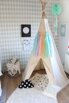 Teepee tent made of fabric for kid's room. ** Read more at the image link. #rustichomedecor