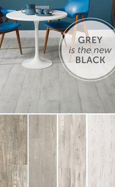 Dining room inspiration: grey floors! #trending