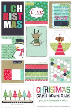 free Christmas card printable set for project life Christmas Card Template, Printable Christmas Cards, Christmas Tag, All Things Christmas, Christmas Crafts, Homemade Christmas, Xmas Cards, Greeting Cards, Project Life Freebies