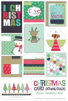 Free Christmas Card Printable Set for Project Life