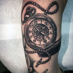 striking-pocket-watch-tattoo-design-on-forearms-men.jpg (600×600)