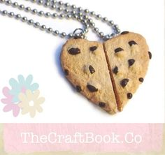 "A realistic hand sculpted chocolate chip cookie that has been cut in half just for you and your BFF. The cookie has every delicious detail, from the golden baked edges to the melty chocolate chips and cracked cookie dough. It's also shaped like a heart. You will receive 2 necklaces (each half) on 24"" stainless steel chains."