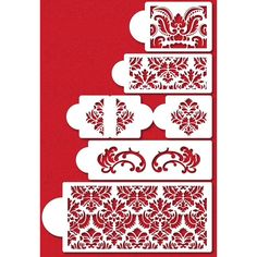 Damask Cake Five Tier Stencil Set by Designer Stencils Wedding and Tiered Cake Stencil Sets