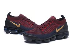 Online Nike Air VaporMax Flyknit 2. 0 W Burgundy Gold Navy Blue 942842 601 Mens Running Shoes Summer Trainers 942842-601